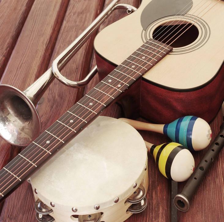 Musik. Dekorations billede - Musik instrumenter