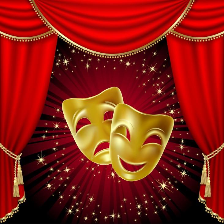Drama. Dekorations billede - Teater masker - Komedie og tragedie