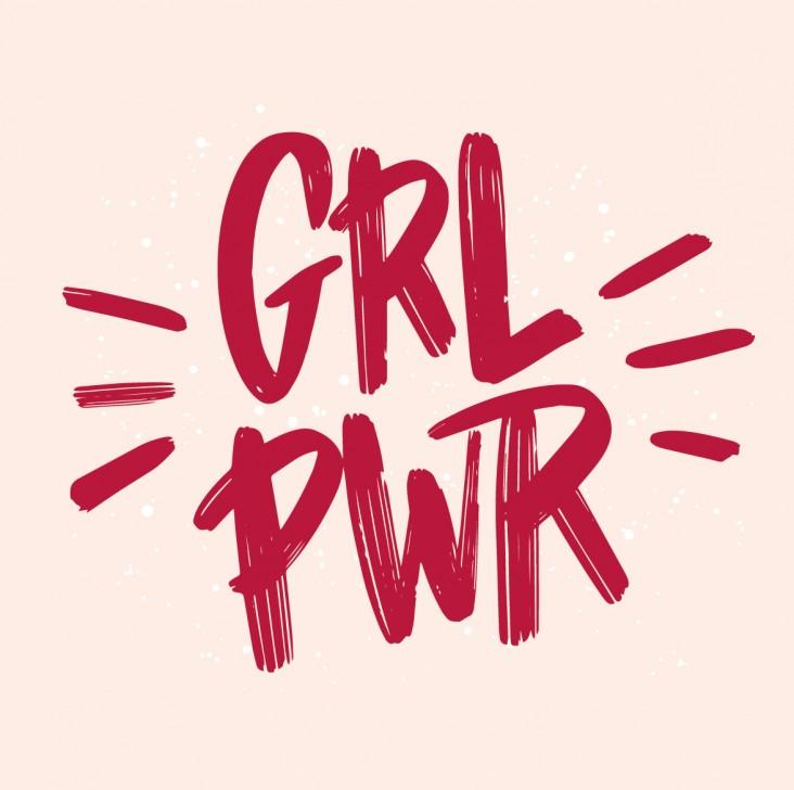 Girls Corner. Dekorations billede - GRL PWR - står skrevet gravisk og betyder girl power