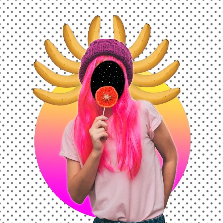 Collage pige - Creative Space. Dekorationsbillede - Kreativ collage af pige med sjove elementer i baggrunden